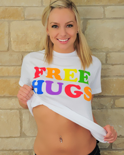 sexy blonde lacey brooks gets naked and gives out free hugs
